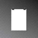 Бумажное знамя на плакате стены Шаблон плаката модель-макета рекламы Стоковая Фотография RF