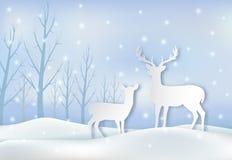 Бумажное искусство пар оленей и иллюстрации снега иллюстрация вектора