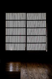 Бумажное окно старой японской дома самураев Стоковая Фотография RF