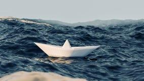 Бумажное плавание шлюпки на иллюстрации открытого моря 3d Стоковые Изображения RF