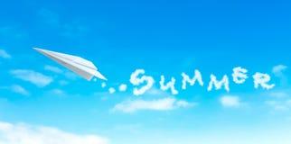 Бумажное плоское производя слово лета формы облака Стоковое Изображение RF