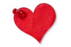 Бумажное сердце прикалыванное с pushpin Стоковое Изображение RF