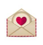 Бумажное сердце grunge в открытом старом конверте иллюстрация штока