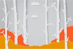 Бумажное origami искусства с изменением сезона в иллюстрации вектора идеи проекта леса Стоковое фото RF
