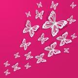 Бумажные бабочки летают на стену в различных направлениях стоковая фотография rf