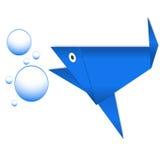 Бумажные голубые рыбы и пузыри Стоковые Фотографии RF