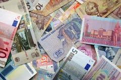 Бумажные деньги различных стран мира Стоковое Фото