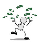 Бумажные деньги бизнесмена бросая. Стоковое Изображение RF