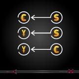 Бумажные деньги вектора с стрелками Изолированные объекты для дизайна иллюстрация вектора