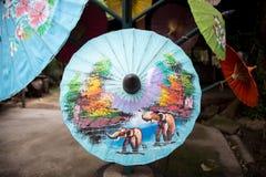 Бумажные зонтики, в Чиангмае, Таиланд Стоковые Фотографии RF