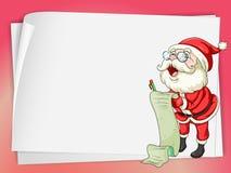Бумажные листы и Санта Клаус Стоковые Изображения