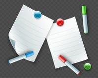 Бумажные листы для примечаний и сообщений с отметками Стоковые Фото