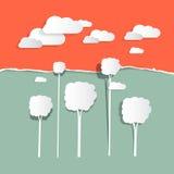 Бумажные облака и деревья Стоковая Фотография