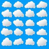 Бумажные облака на голубой предпосылке 10 eps Стоковое Фото