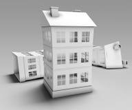 Бумажные дома иллюстрация штока