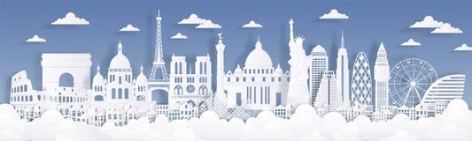 Бумажные отрезанные ориентиры Путешествуйте предпосылка мира, карта рекламы горизонта, силуэты зданий Парижа Лондона Рима иллюстрация вектора