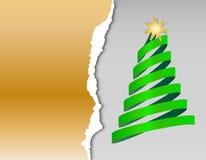 Бумажные рождественские открытки с рождественской елкой от ленты с звездой Стоковое Изображение RF
