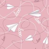 Бумажные самолеты с запутанными линиями безшовной картиной Повторять абстрактную предпосылку с бумажными самолетами и брошенными  Стоковое Изображение