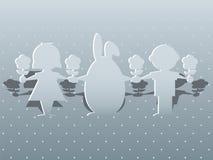 Зайчик и дети пасхи Стоковое Изображение