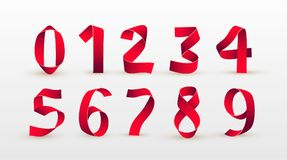 Бумажные складывая номера Красный шрифт сценария ленты Современный стилизованный бумажный шрифт письма мелка доски алфавита номер Стоковые Изображения RF