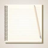 Бумажные тетрадь и карандаш Стоковое Изображение RF
