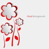 Бумажные цветки приветствуя красную карточку Стоковое Изображение RF