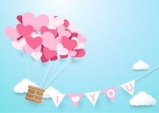 Бумажный воздушный шар формы сердца искусства с гирляндой иллюстрация вектора
