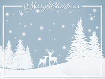 Бумажный высекать искусства оленей на холме около сосны под снежинкой и текстом веселого рождества иллюстрация вектора