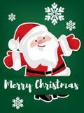 Бумажный высекать искусства Санта Клауса под текстом веселого рождества иллюстрация штока