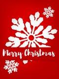 Бумажный высекать искусства снежинки под текстом веселого рождества иллюстрация штока