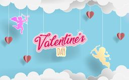 Бумажный день ` s alentine искусства Полюбите ангелов летая между облаками бумаги origami и сердцами в предпосылке конфеты иллюст иллюстрация штока