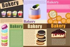 Бумажный дизайн с различным видом хлебопекарни иллюстрация штока
