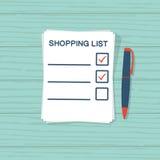 Бумажный лист с списком покупок иллюстрация штока