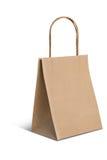 Бумажный коричневый мешок на белой предпосылке стоковые изображения