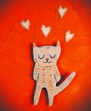 Бумажный кот в влюбленности Стоковые Изображения RF