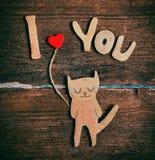 Бумажный кот в влюбленности Стоковые Фото