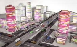 Бумажный красочный город с машинами стоковые изображения rf