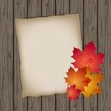 Бумажный лист с листьями осени Стоковые Фотографии RF