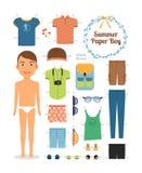 Бумажный мальчик куклы в одеждах и ботинках лета Стоковые Фотографии RF