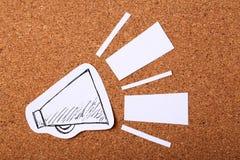 Бумажный мегафон объявляя Стоковое Изображение RF