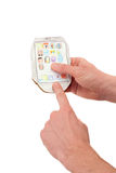 Бумажный мобильный телефон в руках людей Стоковая Фотография