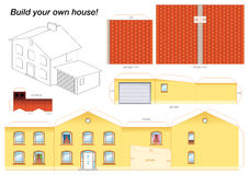 Бумажный модельный желтый цвет дома иллюстрация штока
