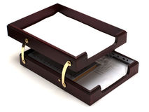 бумажный поднос деревянный Стоковые Фото