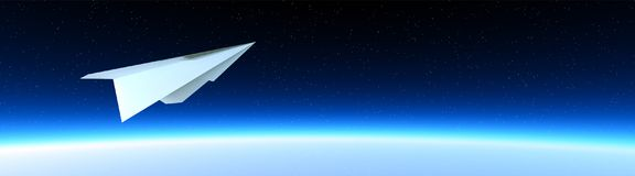 Бумажный самолет в космосе Стоковая Фотография