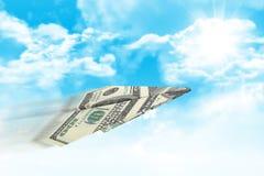 Бумажный самолет сделанный 100 долларовых банкнот Стоковая Фотография RF