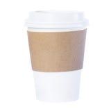 Бумажный стаканчик с белизной ioslated рукавом Стоковое фото RF