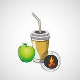 Бумажный стаканчик эскиза вектора с соломой и яблоком Стоковое Изображение RF