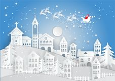 Бумажный стиль искусства, зимний отдых с домом и предпосылкой Санта Клауса Сезон рождества также вектор иллюстрации притяжки core Стоковое Изображение
