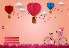 Бумажный стиль искусства формы воздушных шаров летания сердца с велосипедом и розовой предпосылкой, иллюстрацией вектора, концепц Стоковые Фотографии RF