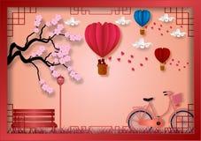 Бумажный стиль искусства формы воздушных шаров летания сердца с велосипедом и вишневым цветом на розовой предпосылке, иллюстрации Стоковая Фотография RF